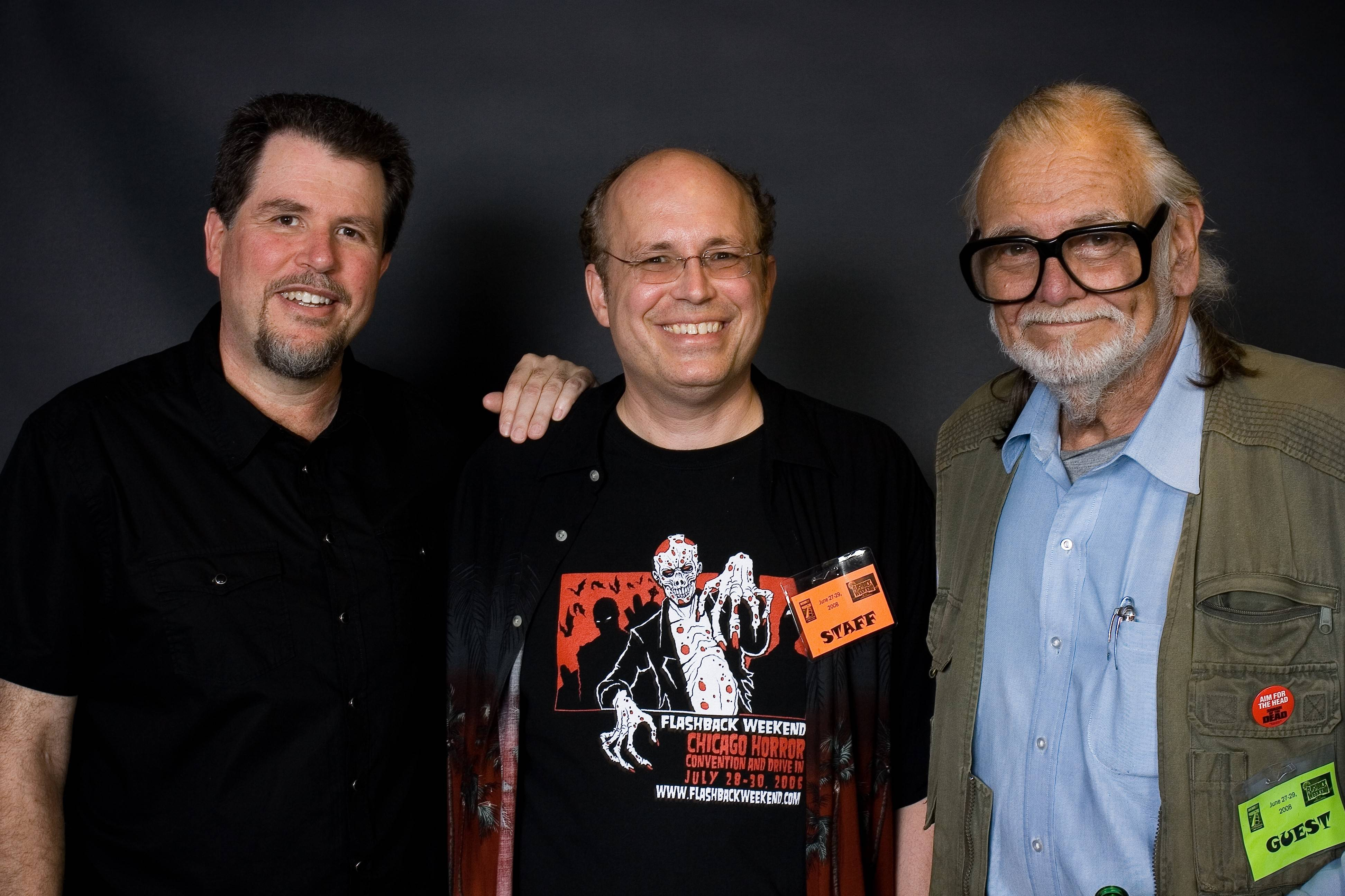 """Night of the Living Dead"" director George Romero, right, joins Flashback founder Mike Kerz, center, at the 2008  Flashback Weekend Horror Convention in Rosemont. Don Coscarelli, director of the cult hit ""Phantasm,"" is at the left."