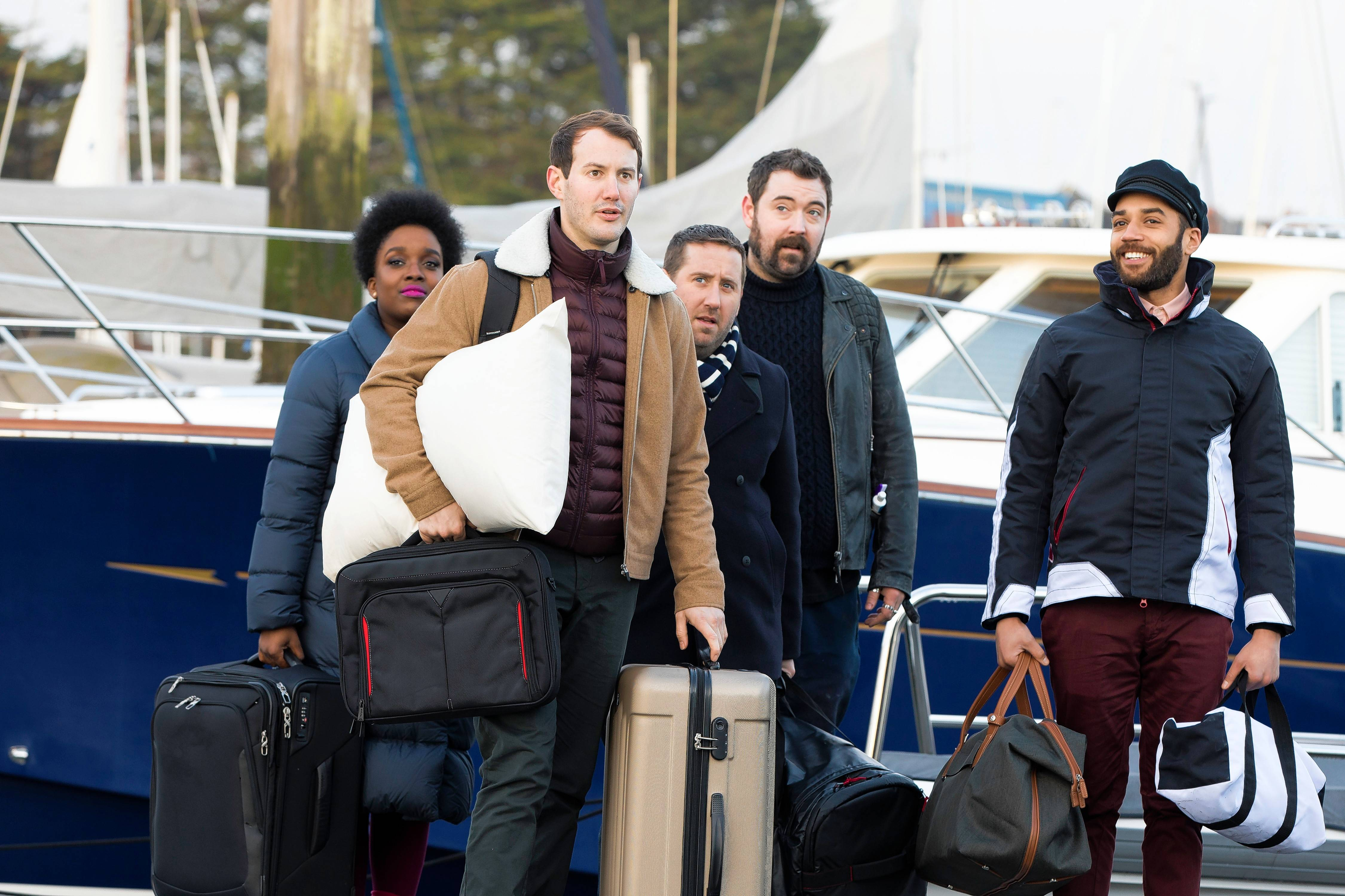 "Leon (Samuel Anderson), Ewan (Jonny Sweet), Josh (Jim Howick) and Watto (Nick Helm) have to navigate their newfound wealth in AMC's new ""Loaded,"" premiering Monday, July 17."