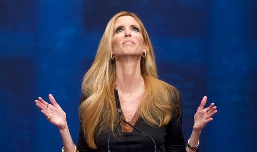 FILE - In this Feb. 10, 2012, file photo, Ann Coulter gestures while speaking at the Conservative Political Action Conference (CPAC) in Washington. Delta pushed back at Coulter after the conservative commentator berated the carrier on Twitter over a changed seat assignment for a July 15, 2017, flight from New York to West Palm Beach, Fla. (AP Photo/J. Scott Applewhite, File)