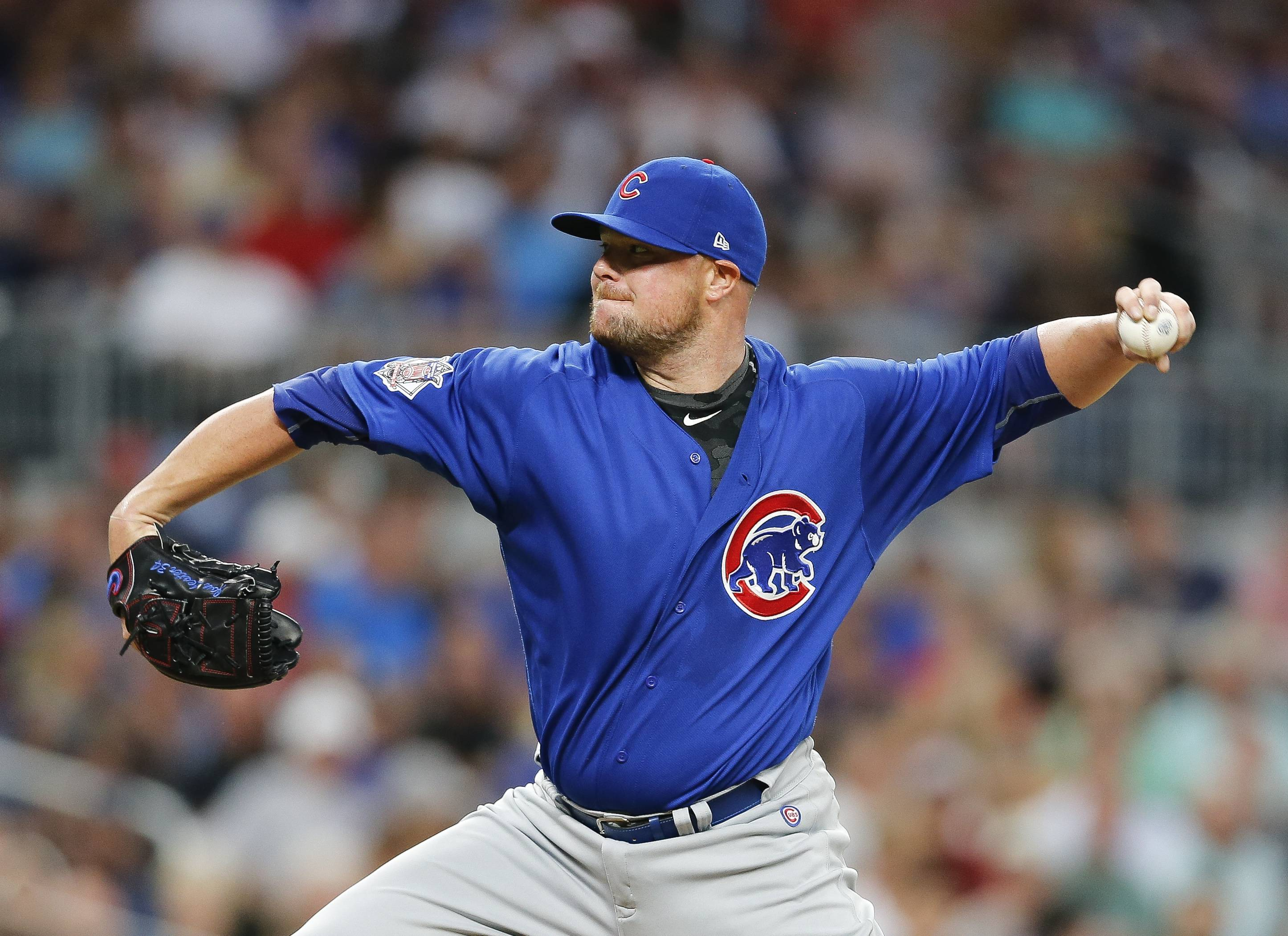 Chicago Cubs starting pitcher Jon Lester works during the first inning of the team's baseball game against the Atlanta Braves on Monday, July 17, 2017, in Atlanta.