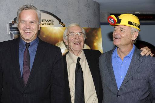 "FILE - In this Oct. 7, 2008, file photo, Tim Robbins, from left, Martin Landau and Bill Murray attend a special screening of ""City of Ember"" in New York. Landau died Saturday, July 15, 2017, of unexpected complications during a short stay at UCLA Medical Center, his publicist Dick Guttman said. Landau was known as the chameleon-like actor who gained fame as the crafty master of disguise in the 1960s TV show ""Mission: Impossible,"" then capped a long and versatile career with an Oscar for his poignant portrayal of aging horror movie star Bela Lugosi in 1994's ""Ed Wood."" He was 89. (AP Photo/Evan Agostini, File)"