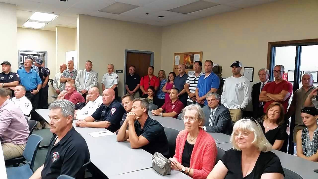 A big crowd gathered Wednesday at Fire Station No. 2 in Gurnee for a ceremony honoring ex-Gurnee Fire Chief Fred Friedl.