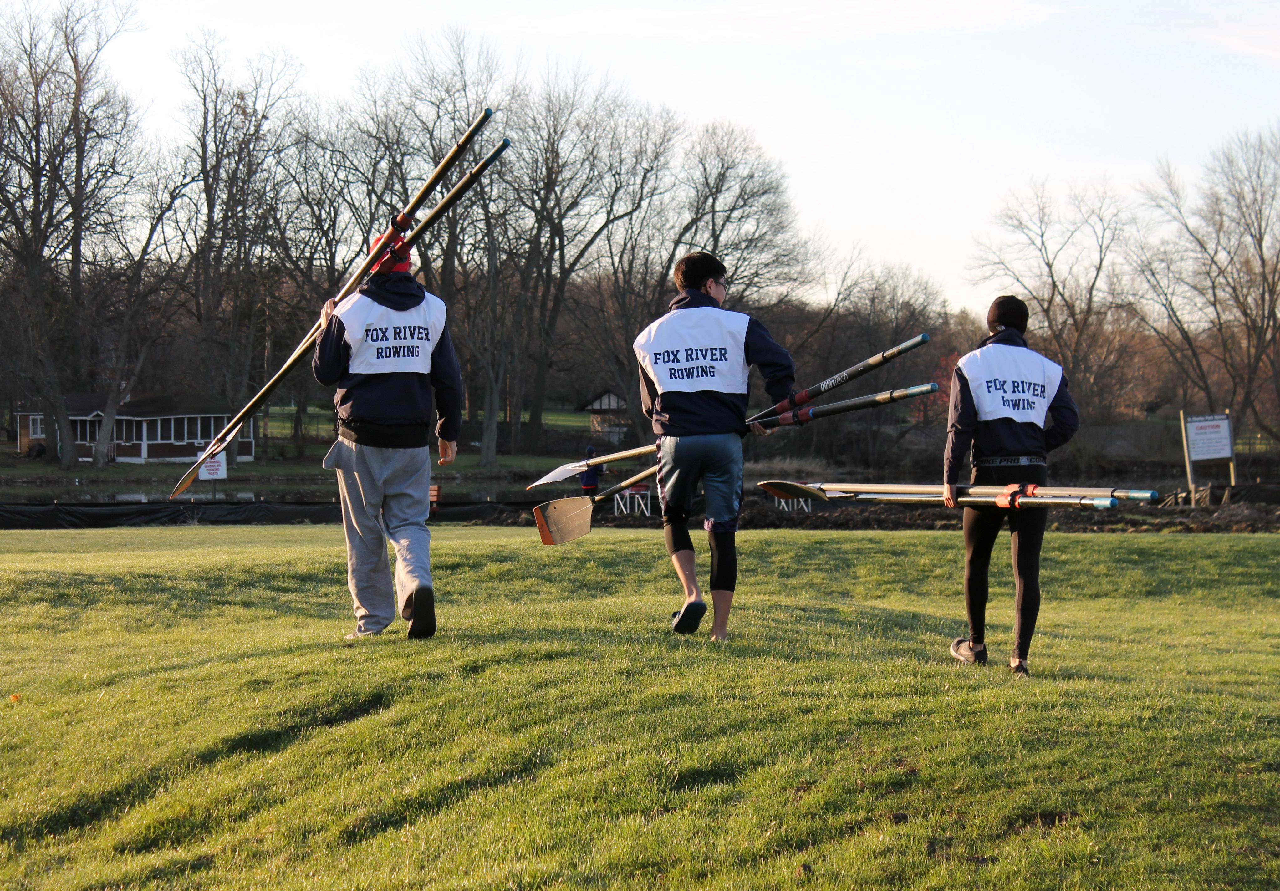 Members of the Fox River Rowing Association will introduce prospective rowers to the sport on Saturday at Ferson Creek Park in St. Charles. From left are Gavin Richetti, Andrew Song and Sam Belmonte.