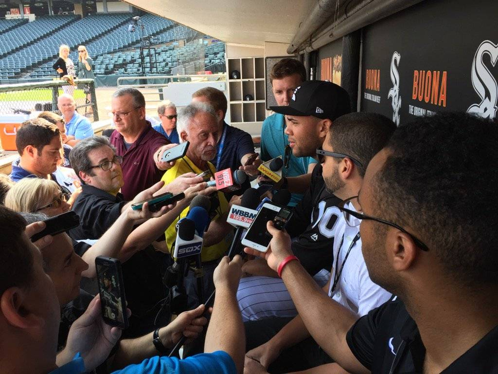 Scot Gregor/sgregor@dailyherald.com White Sox second baseman Yoan Moncada meets the media at Guaranteed Rate Field in Chicago Wednesday night before his Chicago debut in a game with the Los Angeles Dodgers.