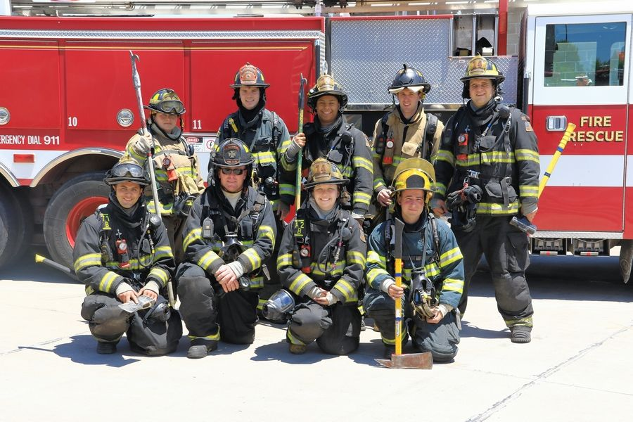 McHenry County College Fire Academy candidates who participated in the Illinois Fire Service Institute training are, front row, from left, Giovanni Barry, Todd Harris and Melanie Evertsen, all of McHenry; Mark Heredia of Lake in the Hills; and back row, Marlene Leutik of Waukegan, Gavin Taylor of Richmond, Michael Williams of Hebron, Joshua Kaiser of Crystal Lake and John Slivka of Johnsburg.