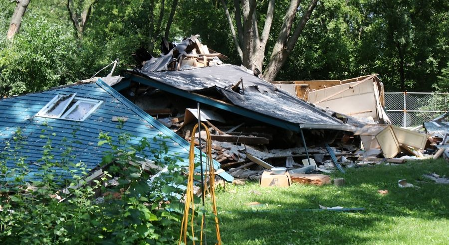 This house on Sunnyview Road in Libertyville exploded while the owners were on vacation.