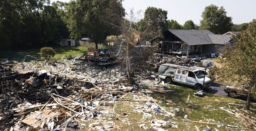An explosion in June in Marengo leveled two houses and damaged more than 50.