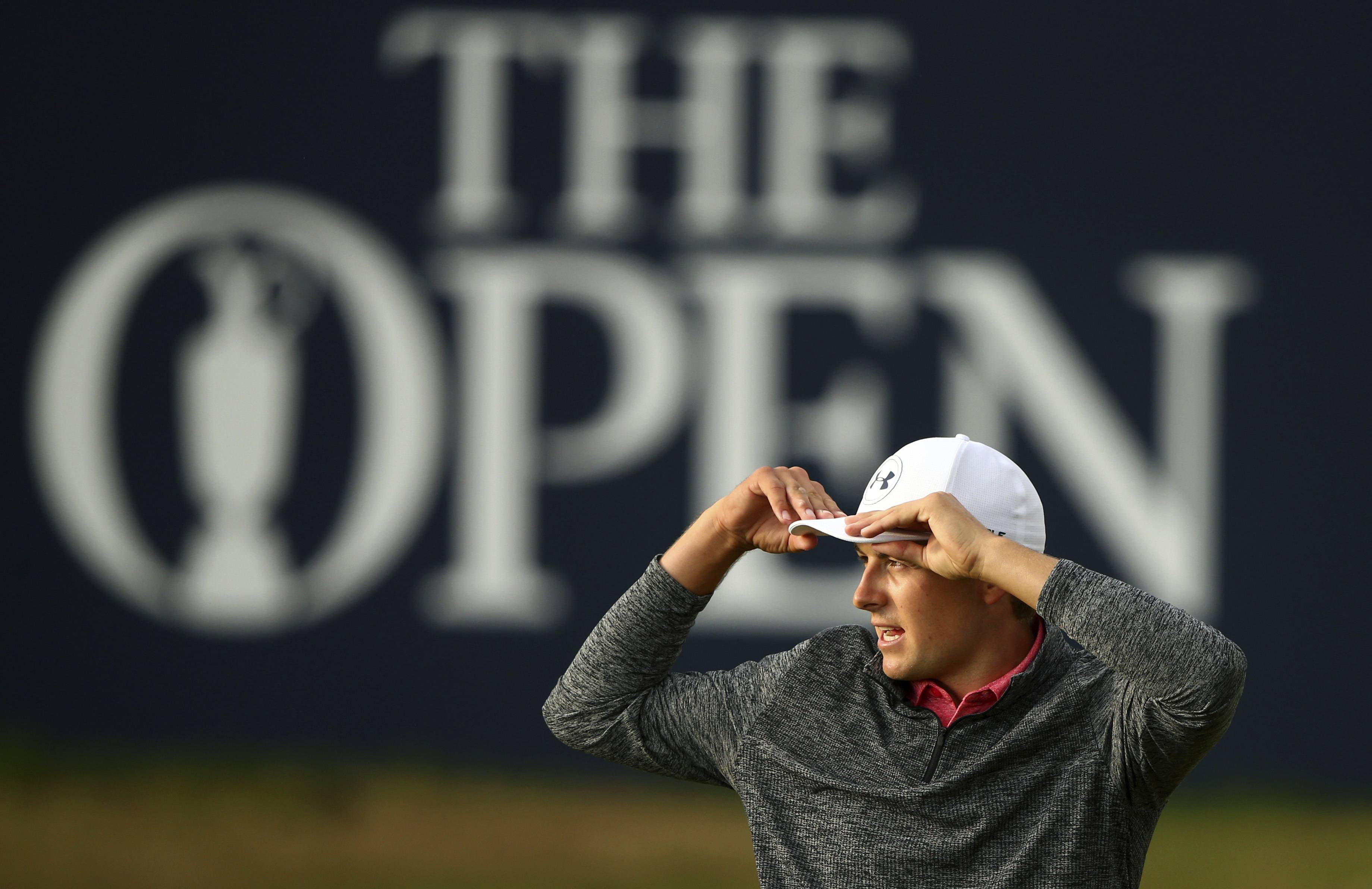 Jordan Spieth of the United States on the 18th green after the third round of the British Open Golf Championship, at Royal Birkdale, Southport, England, Saturday July 22, 2017. (AP Photo/Dave Thompson)
