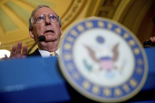 "In this July 18, 2017 photo, Senate Majority Leader Mitch McConnell of Ky. speaks at a news conference on Capitol Hill in Washington. There are many reasons why the Senate will probably reject Republicans' crowning bill razing much of ""Obamacare.� There are fewer why Senate Majority Leader Mitch McConnell might revive it and avert a GOP humiliation. (AP Photo/Andrew Harnik)"