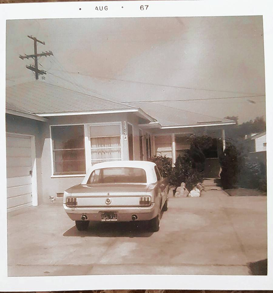 Horton's Mustang parked in the driveway of his father's home in Los Angeles.