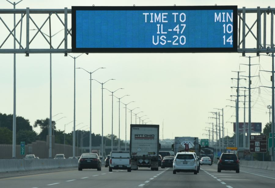 "Signs along westbound Jane Addams Tollway (I-90) let drivers know travel times to upcoming exits. The tollway's ""Smart Corridor"" is scheduled to go fully into operation Sept. 5"