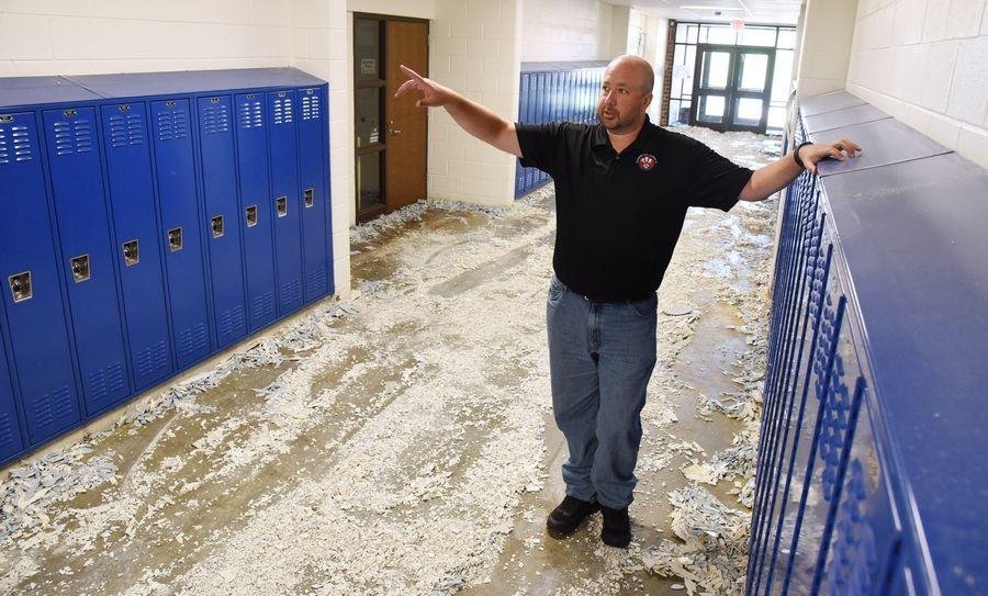 Diamond Lake School Principal Kurt Preble discusses the work being done at West Oak Middle School in Mundelein, including the replacing of the tile flooring in the fifth grade.