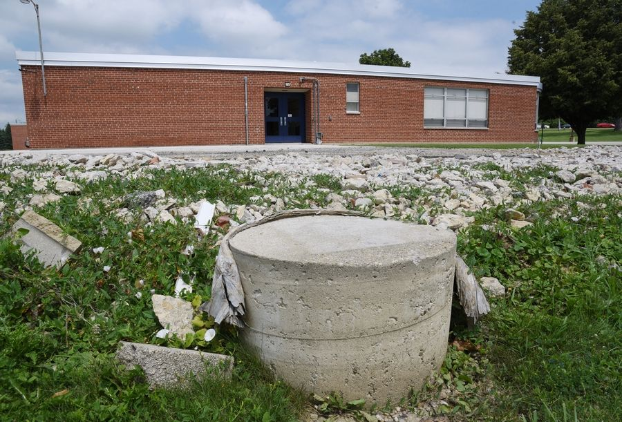 Mobile classrooms have been removed, leaving some of the pads exposed at Antioch District 34 Oakland Elementary School at Deep Lake and Grass Lake roads. A building addition is planned.