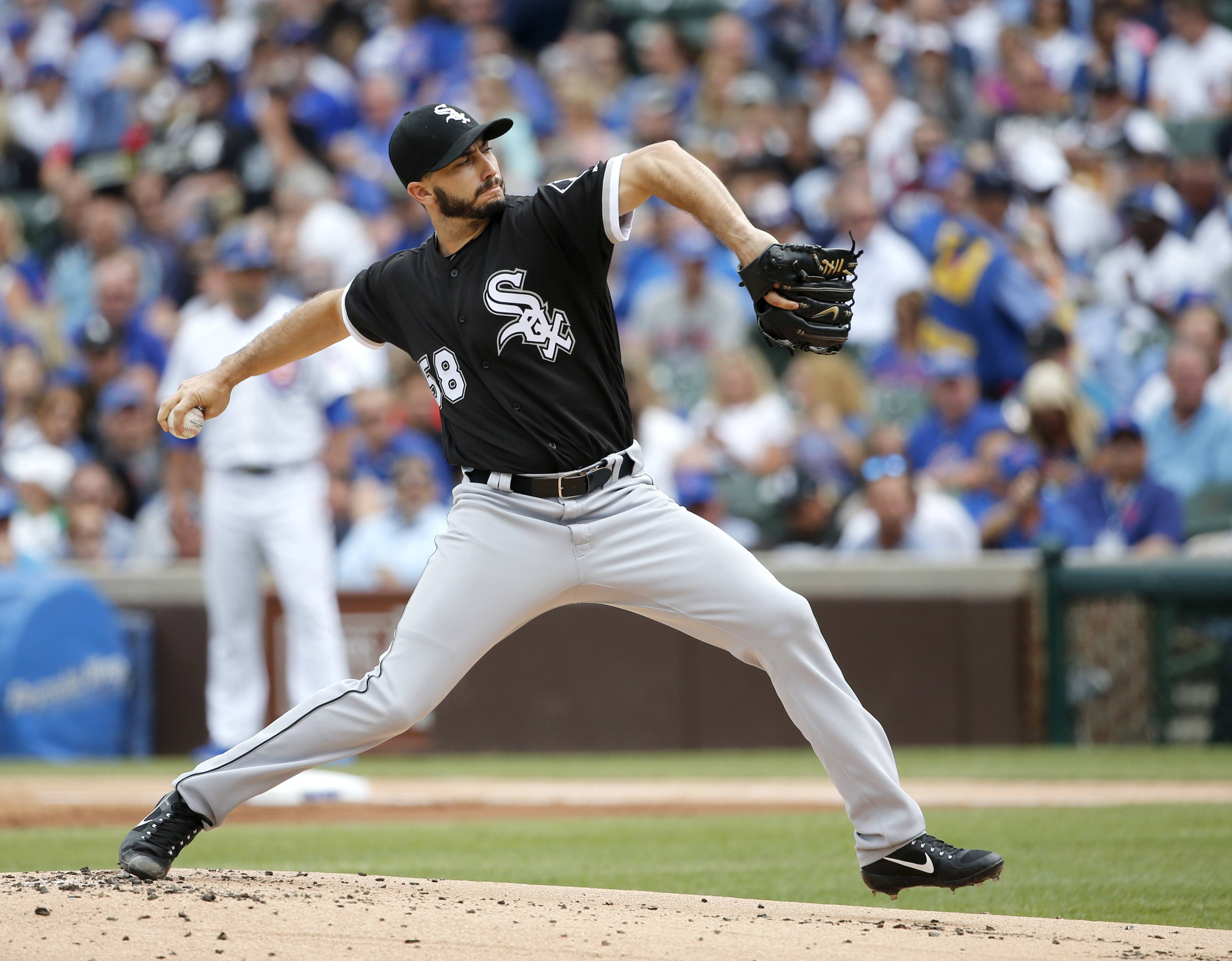 Chicago White Sox starting pitcher Miguel Gonzalez delivers during the first inning of a baseball game against the Chicago Cubs Monday, July 24, 2017, in Chicago.