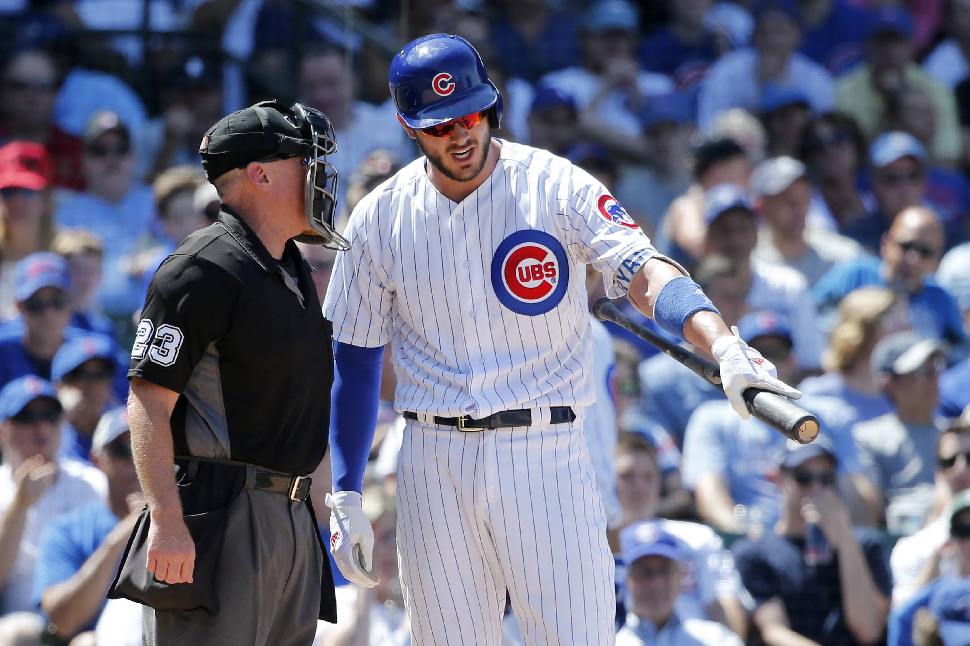 Chicago Cubs third baseman Kris Bryant argues with home plate umpire Lance Barksdale after Barksdale called Bryant out on strikes during the fourth inning against the Chicago White Sox on Tuesday. Barksdale eventually ejected Bryant from the game.