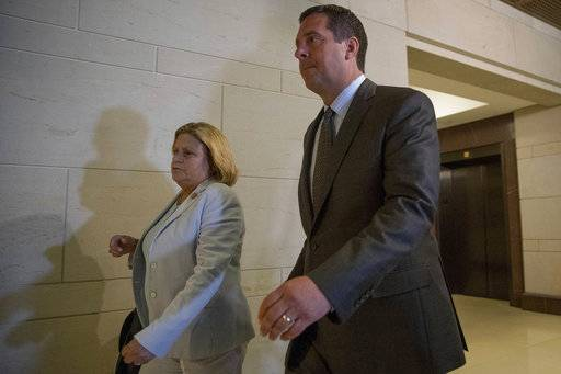 House Intelligence Committee chairman Rep. Devin Nunes, R-Calif. right, and committee member Rep. Ileana Ros-Lehtinen, R-Fla. arrive on Capitol Hill in Washington, Tuesday, July 25, 2017, for the committee's closed-door interview with White House senior adviser Jared Kushner, as the committee probes Russia's election meddling and possible ties to Trump's campaign.