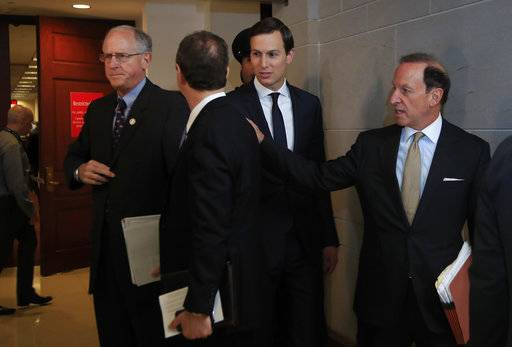 White House senior adviser Jared Kushner, accompanied by his attorney Abbe Lowell, right, talks to House Intelligence Committee member Rep. Michael Conaway, R-Texas, left, and the committee's ranking member Rep. Adam Schiff, D-Calif., on Capitol Hill in Washington, Tuesday, July 25, 2017, after a meeting behind closed doors with the committee