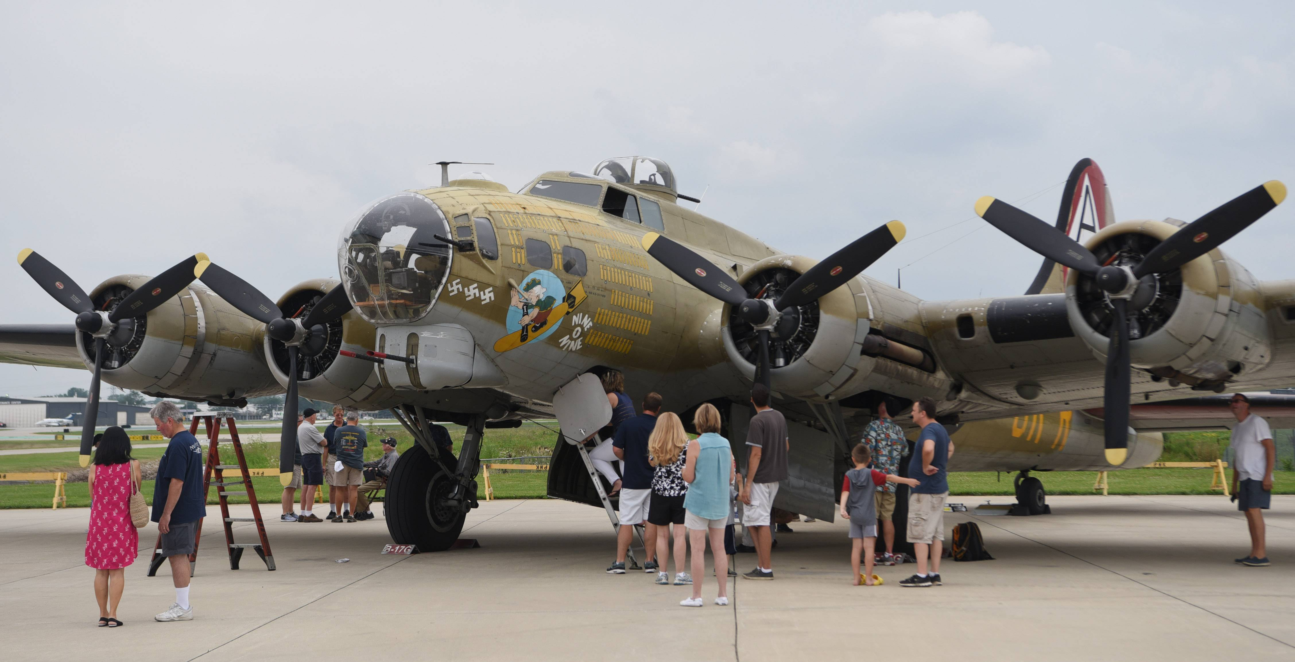 A B-17 Flying Fortress is displayed as part of the Wings of Freedom tour at Chicago Executive Airport in Wheeling through Sunday.
