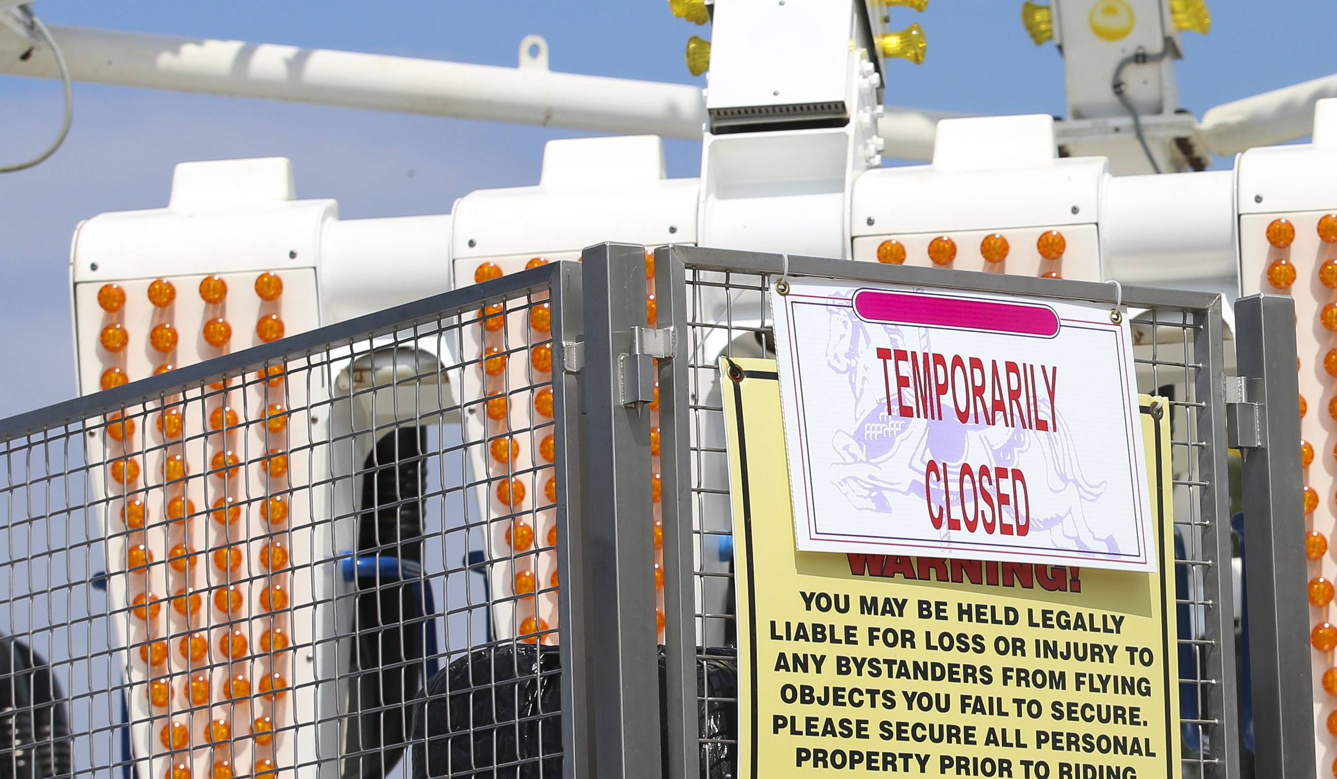 "A carnival ride called ""Freak Out"" is temporarily closed at the DuPage County Fair in Wheaton after a fatal accident on a similar ride at the Ohio State Fair this week."