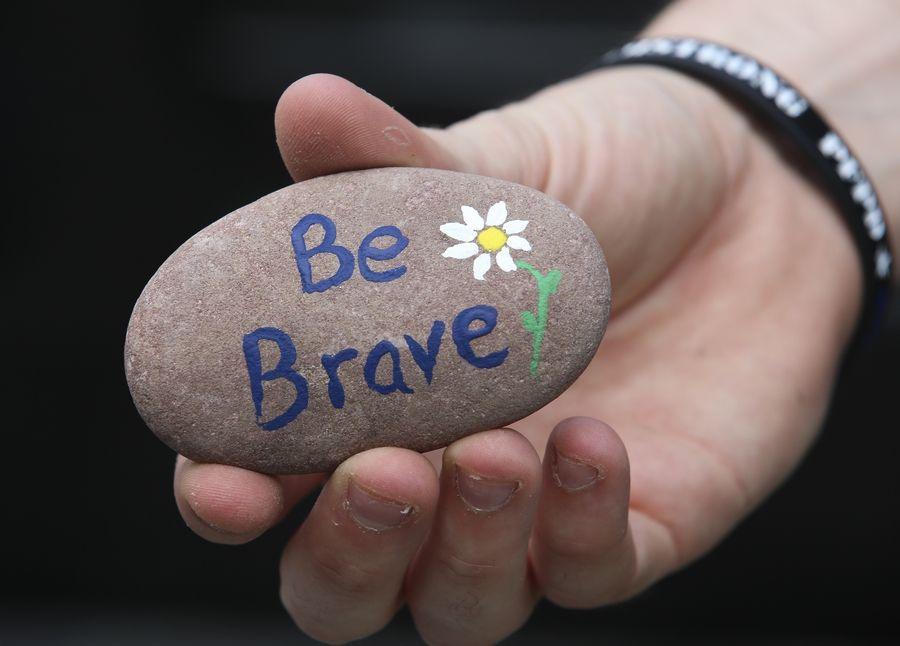 Inspirational messages and crime prevention tips mark about 50 Kindness Rocks Naperville Police Department personnel painted and placed throughout the community this week.