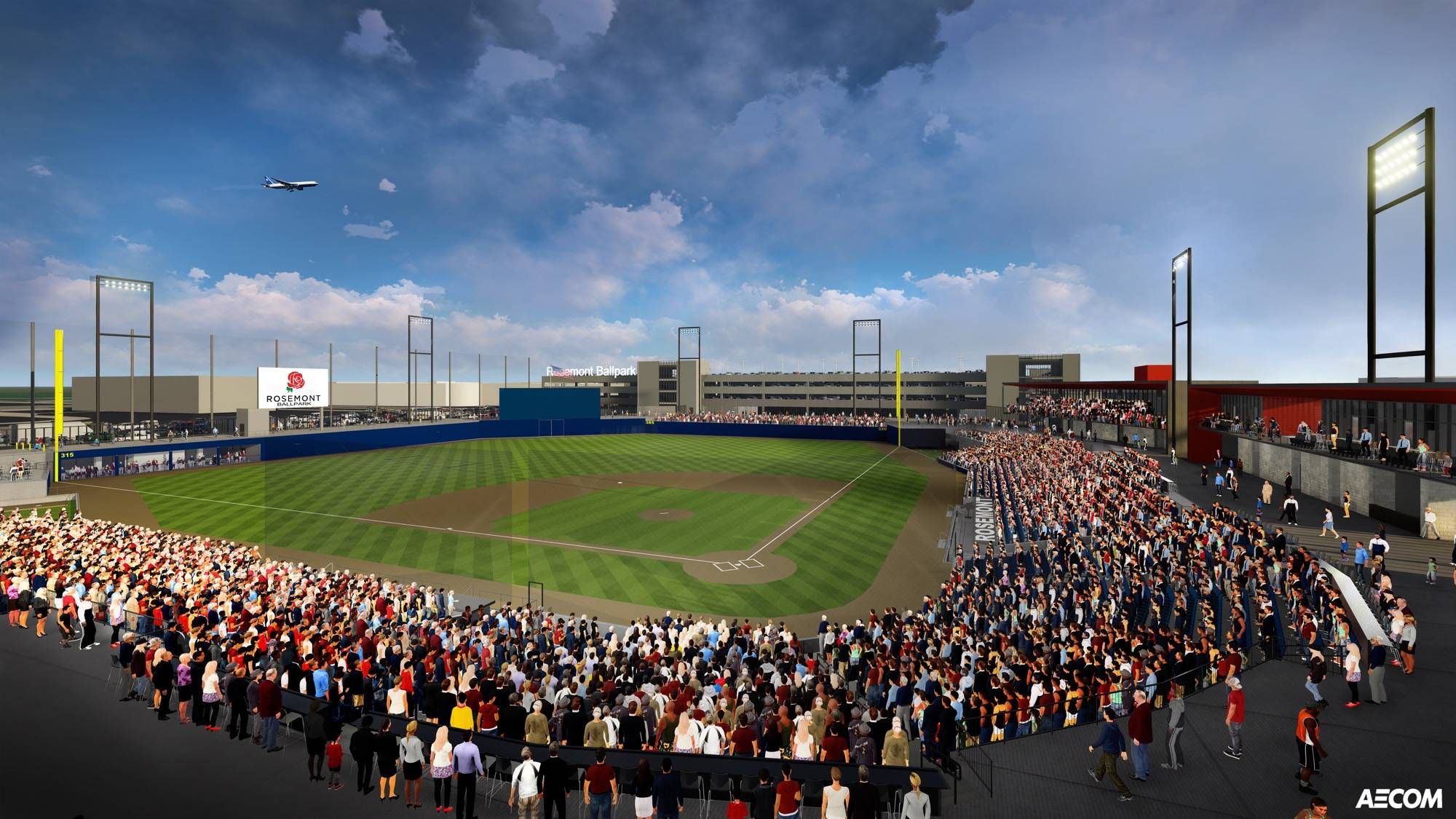 A sketch shows what the $60 million, 6,300-seat independent league baseball team stadium under construction in Rosemont will look like when complete in May 2018.