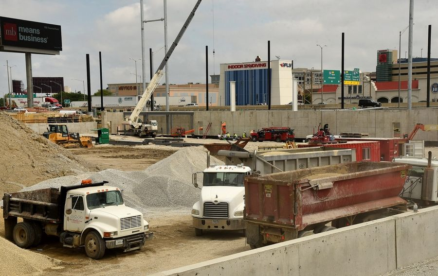Construction continues at the site of a planned $60 million, 6,300-seat independent league baseball team stadium in Rosemont.