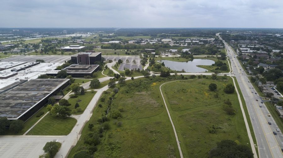 The Daily Herald drone camera captures traffic moving along Algonquin Road in Schaumburg, right, near the future site of the Veridian development on the Motorola Solutions in Schaumburg.