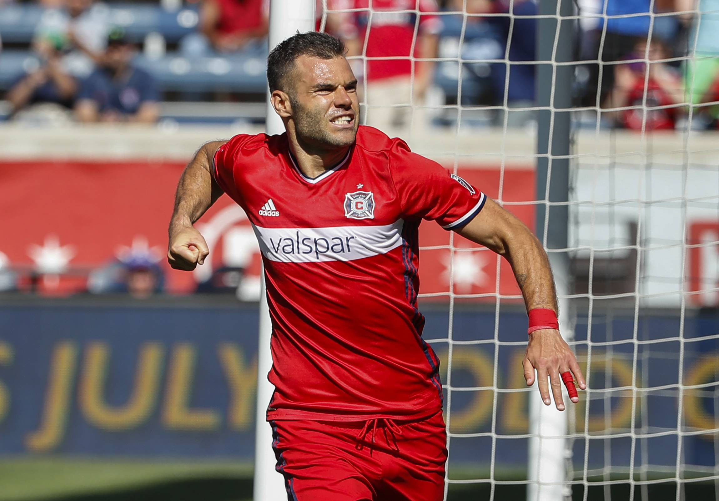 Chicago Fire forward Nemanja Nikolic celebrates after scoring on a penalty kick against Atlanta United on June 10. As the MLS all-stars arrive in Chicago for Wednesday's game, we're reminded of what their presence means.
