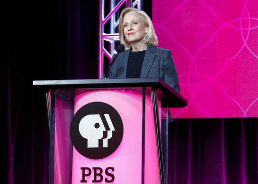FILE - In this Jan. 15, 2017, file photo, President and CEO Paula Kerger speaks at the PBS's Executive Session at the 2017 Television Critics Association press tour in Pasadena, Calif. Kerger is sounding the alarm about public broadcasting's future if federal funding is axed. She said Sunday, July 30, that stations dependent on federal funds couldn't survive without it, including many in rural or underserved areas. President Donald Trump has called for an end to federal money for PBS and National Public Radio. (Photo by Willy Sanjuan/Invision/AP, File)