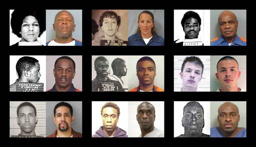 "This combination of photos shows shows younger and older photos of ""juvenile lifers,"" top row from left, William Washington, Jennifer M. Pruitt and John Sam Hall; middle row from left, Damion Lavoial Todd, Ahmad Rashad Williams and Evan Miller; bottom row from left, Giovanni Reid, Johnny Antoine Beck, and Bobby Hines. During the late 1980 and into the 1990s, many states enacted laws to punish juvenile criminals like adults and the U.S. became an international outlier, sentencing offenders under 18 to live out their lives in prison for homicide and, sometimes, rape, kidnapping, armed robbery. (Michigan Department of Corrections, Pennsylvania Department of Corrections, Lawrence County Alabama Sheriff's Office, Alabama Department of Corrections via AP)"