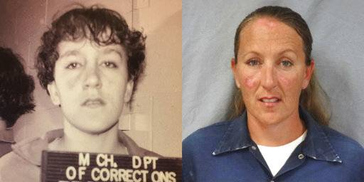 This combination of photos made available by the Michigan Department of Corrections shows Jennifer M. Pruitt in 1993 and in July 2013. In 1993 she targeted her 75-year-old neighbor for robbery and then stood by as an accomplice stabbed Elmer Heichel to death. When Pruitt got life without parole at the age of 17, the law provided only one other choice for punishment _ sentencing Pruitt as a juvenile, which meant just three years of court supervision. (MDOC via AP)