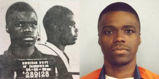 This combination of photos made available by the Michigan Department of Corrections shows a younger Ahmad Rashad Williams and in April 2014. Williams' mother, a crack addict, died when he was 10. His grandmother, who raised him in Grand Rapids, Mich., died soon after. By the time Williams shot and killed Derek Pimpleton in a dispute over marijuana, he was smoking it every day and regularly skipping school. Both boys were 15. (MDOC via AP)