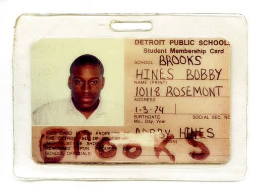 "This photo provided by the American Civil Liberties Union in July 2017 shows a school identification card for Bobby Hines. When he was 15, just out of eighth grade, he was in court answering for his role in the murder of a man over a friend's drug debt. He did not fire the deadly shot, but when he and two others confronted 21-year-old James Warren, Hines said something like, ""Let him have it,"" words that sealed his conviction and punishment: mandatory life with no chance for parole. At 43, he returned for a resentencing hearing this spring and is set to be paroled in September. (ACLU via AP)"