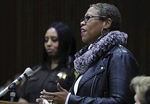 In this Thursday, March 16, 2017 image from video, Valencia Warren Gibbs, addresses the court during a hearing for her brother's killer, Bobby Hines, at the Frank Murphy Hall of Justice in Detroit. Gibbs and family have forgiven Hines for the murder of her brother, James Warren.
