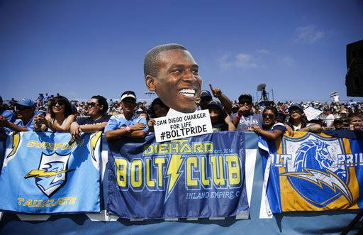 Los Angeles Chargers fans hold up a photo of tight end Antonio Gates while watching players practice at NFL football training camp Sunday, July 30, 2017, in Costa Mesa, Calif. (AP Photo/Jae C. Hong)