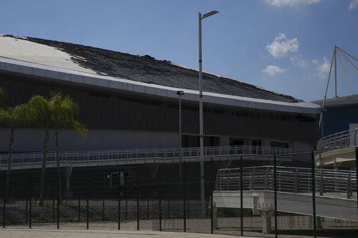 The charred roof of the velodrome is seen at the Olympic Park, Sunday, July 30, 2017, in Rio de Janeiro, Brazil. The velodrome built for last year's Rio de Janeiro Olympics suffered minor fire damage Sunday when it was struck by a small, hand-made hot-air balloon. (AP Photo/Renata Brito)