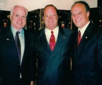 John McCain, left, Libertyville lawyer Ron Bell, and Peter Fitzgerald, right, at a party celebrating Fitzgerald's birthday several years ago.