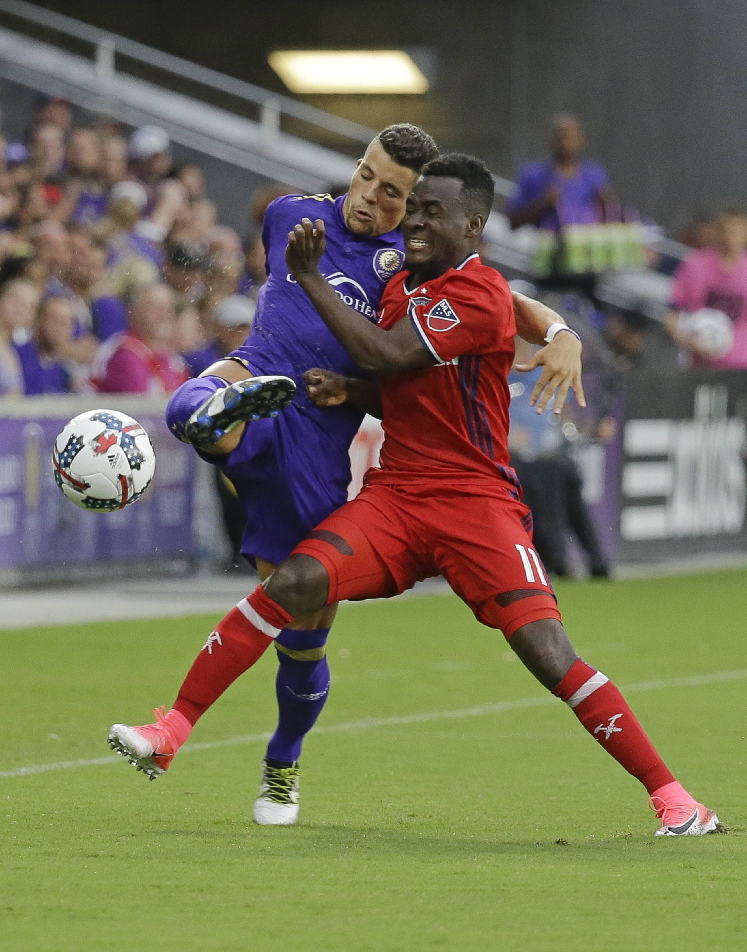 Despite not starting the past two games, Chicago Fire's David Accam (11) is tied for third in the MSL with 12 goals. He also has 7 assists this season.