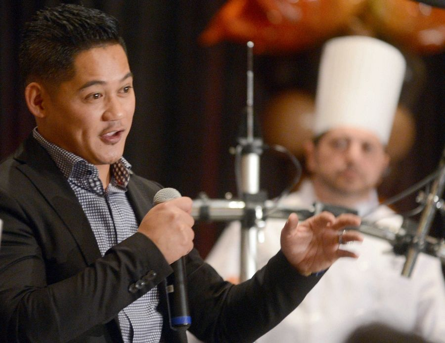 Emcee Paul Guerrero entertains the crowd at a previous Cook of the Week Challenge finale.