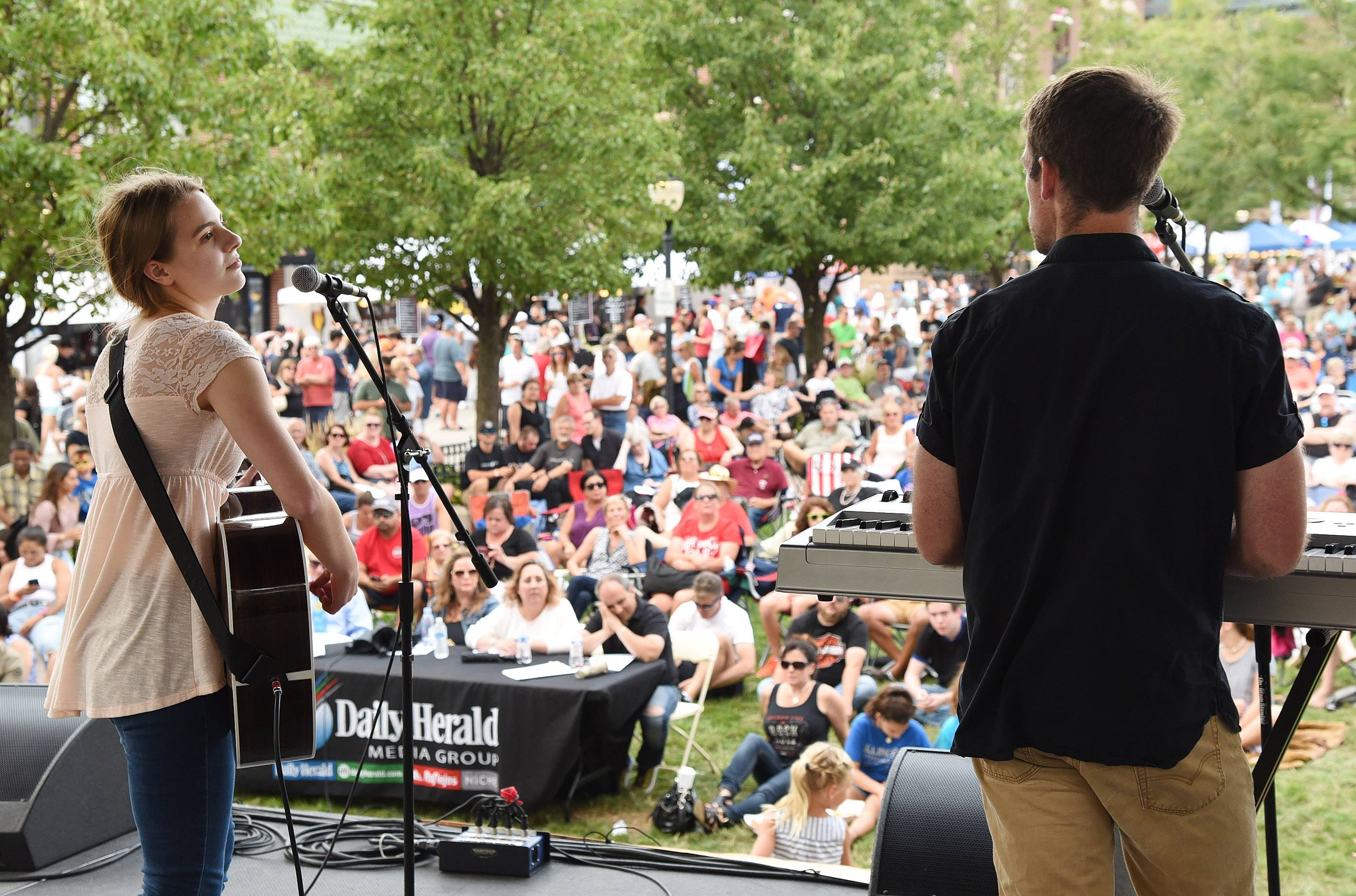 "Tom & Olivia of Aurora performed an original song called ""Hum of Words"" at the 2017 Suburban Chicago's Got Talent finale on Saturday at the Taste of Arlington Heights."