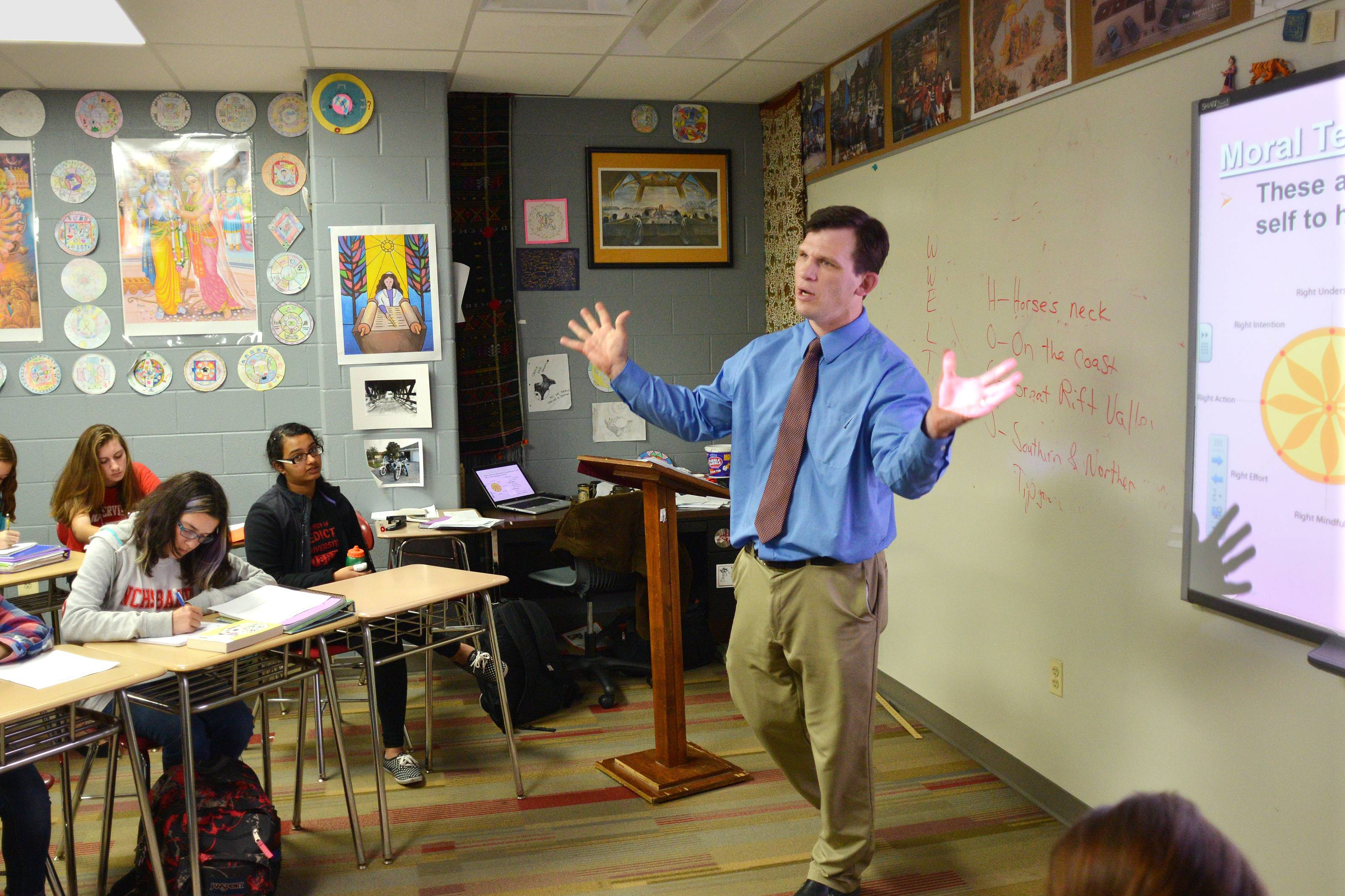 Seth Brady, a comparative religions and world cultures teacher at Naperville Central High School, says new guidelines for academic studies about religions in public schools will help teachers realize it is constitutionally appropriate to teach about various faith traditions without endorsing or opposing any of them.