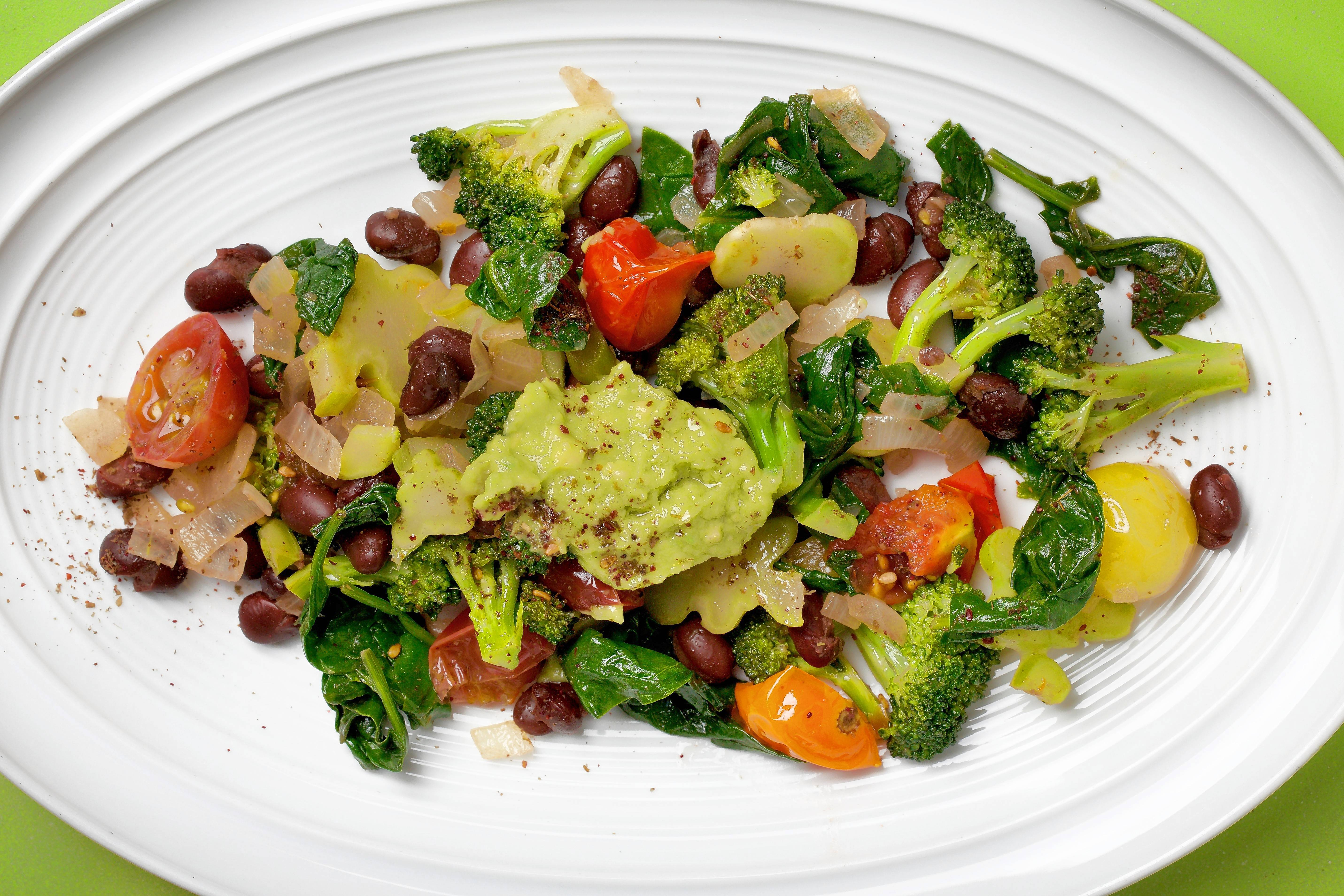 Black Beans and Greens With Avocado and Za'atar.