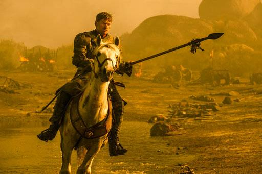 "This image released by HBO shows Nikolaj Coster-Waldau as Jamie Lannister in a scene from ""Game of Thrones,"" which aired Sunday, Aug. 6. Sunday's airing was the series' most-watched ever, seen by 10.2 million viewers. (Macall B. Polay/HBO via AP)"