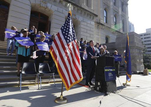 Indiana Rep. Todd Rokita speaks during a news conference outside of the Indiana Statehouse Wednesday, Aug. 9, 2017, in Indianapolis. Rokita is entering the Republican Senate primary in an effort to unseat Sen. Joe Donnelly. (AP Photo/Darron Cummings)