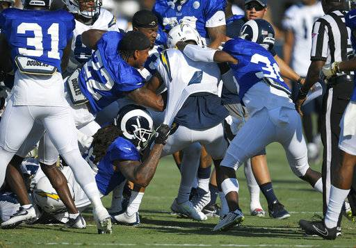 One of several scuffles breaks out during a joint NFL football practice held by the Los Angeles Rams and the Los Angeles Chargers, Wednesday, Aug. 9, 2017, in Irvine, Calif. (AP Photo/Mark J. Terrill)