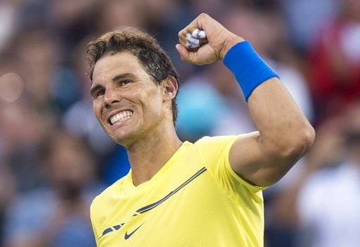 Rafael Nadal of Spain celebrates his victory over Borna Coric of Croatia during the Rogers Cup men's tennis tournament, Wednesday, Aug. 9, 2017 in Montreal. (Paul Chiasson/The Canadian Press via AP)