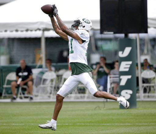 New York Jets' Robby Anderson grabs a pass during NFL football training camp in Florham Park, N.J., Tuesday, Aug. 8, 2017. (AP Photo/Seth Wenig)