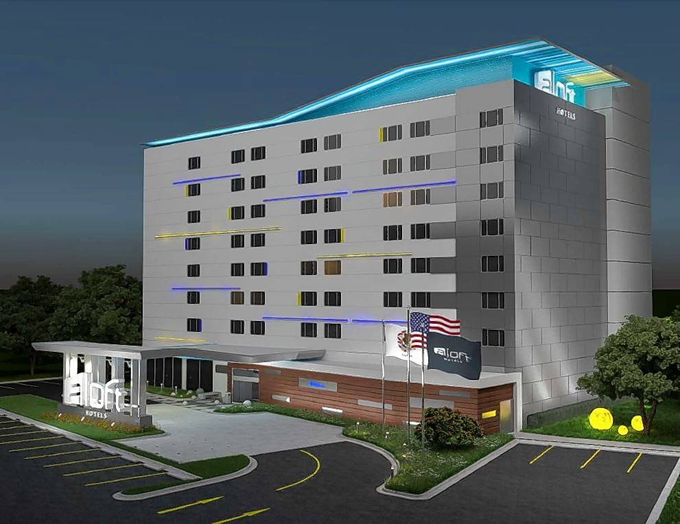 A sketch shows the proposed nine-story, 119-room Aloft hotel -- the current Holiday Inn at 3405 Algonquin Road -- that will undergo $2.75 million worth of renovations.