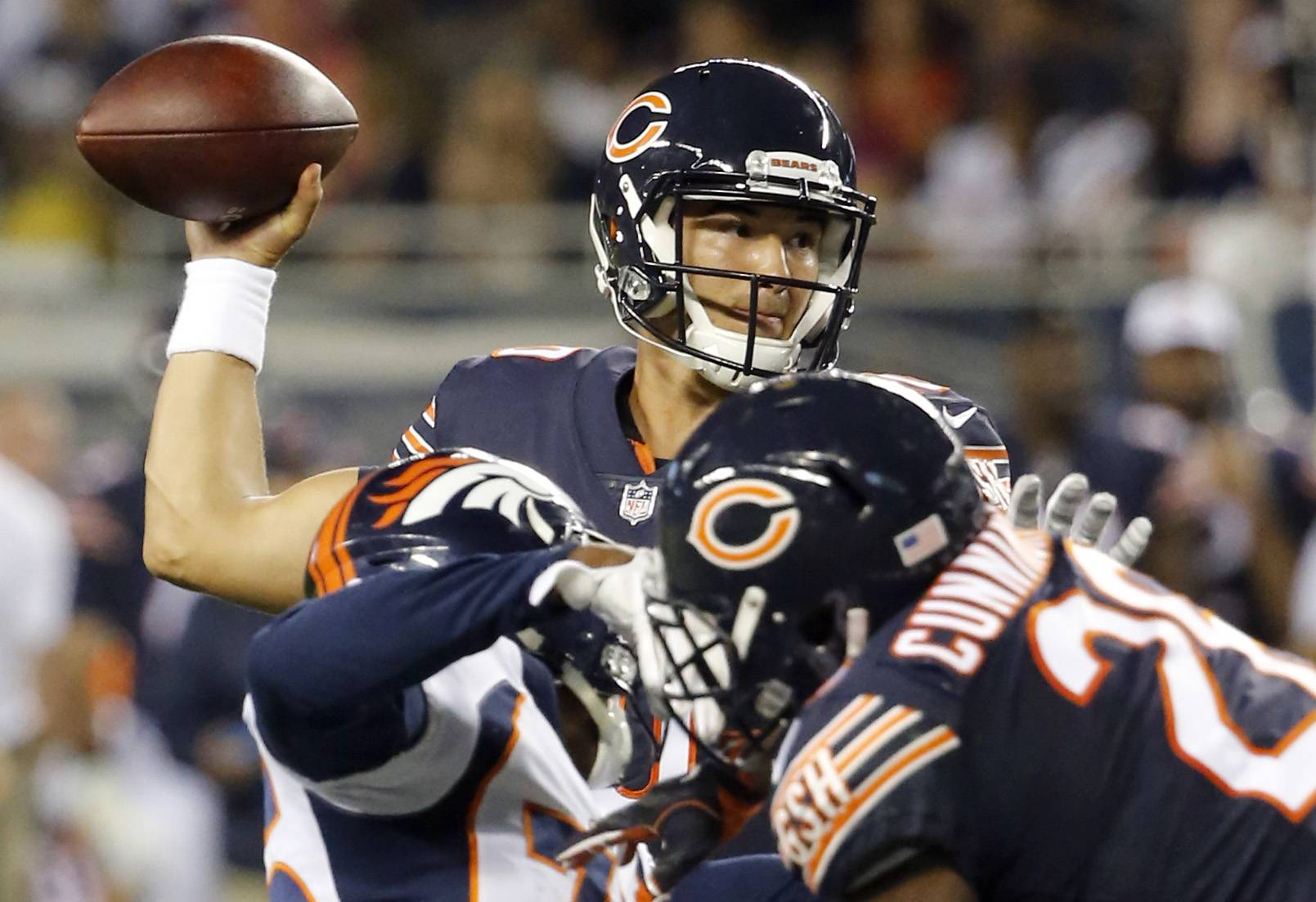 Chicago Bears quarterback Mitchell Trubisky (10) throws a pass during the first half of an NFL preseason football game against the Denver Broncos, Thursday, Aug. 10, 2017, in Chicago.