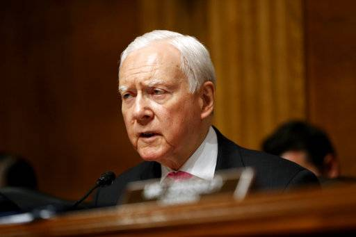 FILE- In this July 12, 2017, file photo, Senate Judiciary Committee member Sen. Orrin Hatch, R-Utah, speaks on Capitol Hill in Washington. An emerging debate about whether elected officials are violating people's free speech rights by blocking them on social media is spreading across the nation as First Amendment advocates file lawsuits or warn politicians to stop.